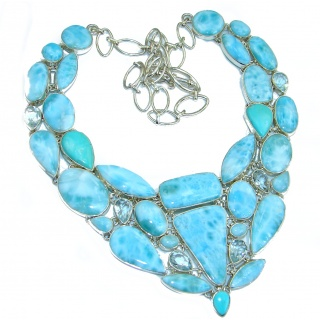 Chunky Larimar Sleeping Beauty Turquoise .925 Sterling Silver handcrafted necklace