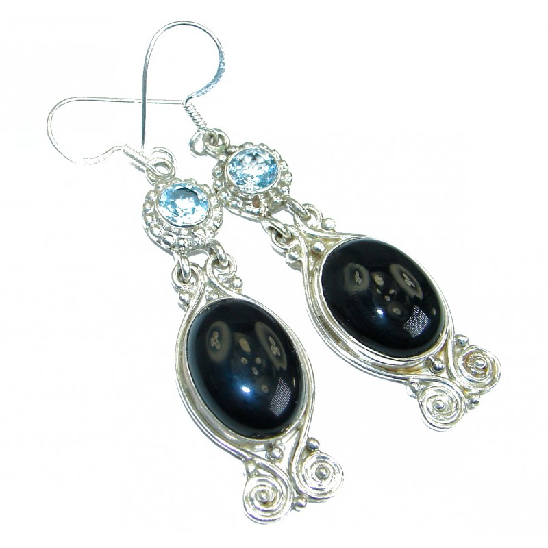 One in the world genuine Onyx .925 Sterling Silver handmade earrings