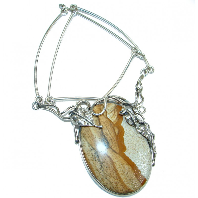 Huge Inspired by Nature Handcrafted AAA Picture Jasper .925 Sterling Silver Necklace