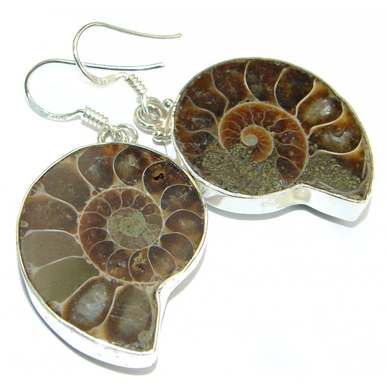 Handcrafted Ammonite Fossil .925 Sterling Silver earrings