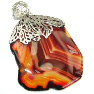 Great quality genuine Botswana Agate .925 Sterling Silver handmade Pendant