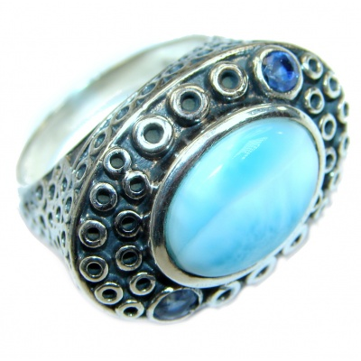 Natural Larimar Sapphire .925 Sterling Silver handcrafted Ring s. 9