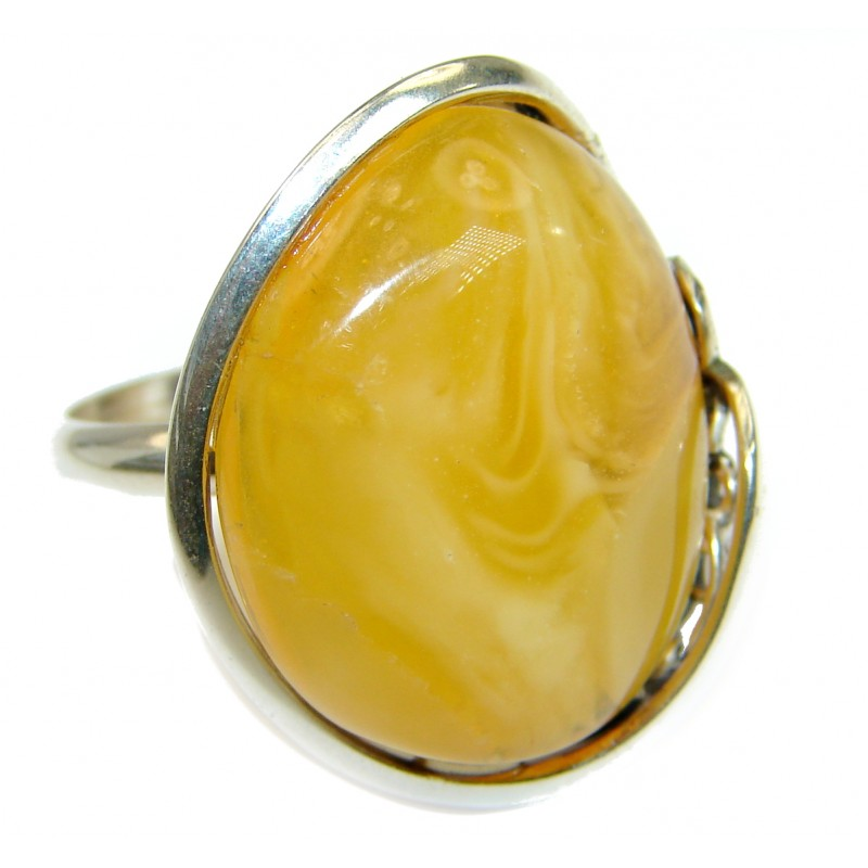 Huge Genuine Butterscotch Baltic Polish Amber .925 Sterling Silver handmade Ring size 7 3/4