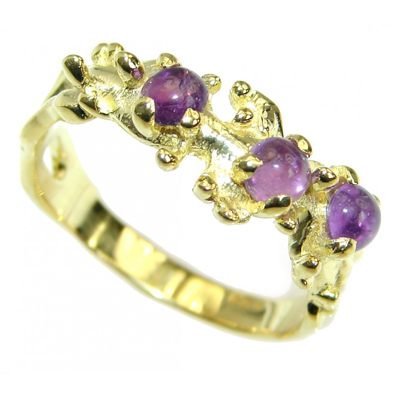 Natural Amethyst 14K Gold over .925 Sterling Silver handmade Cocktail Ring s. 8
