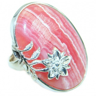 Top Quality Rhodochrosite .925 Sterling Silver handmade ring size 8