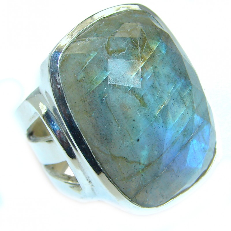 Fire Labradorite .925 Sterling Silver handmade ring size 7