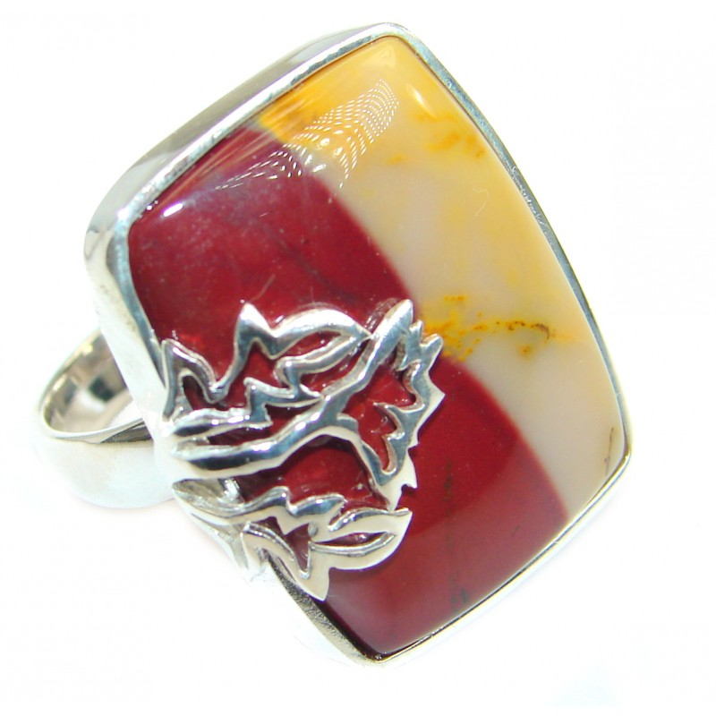 Flawless Australian Mookaite .925 Sterling Silver handcrafted Ring size 7 1/4