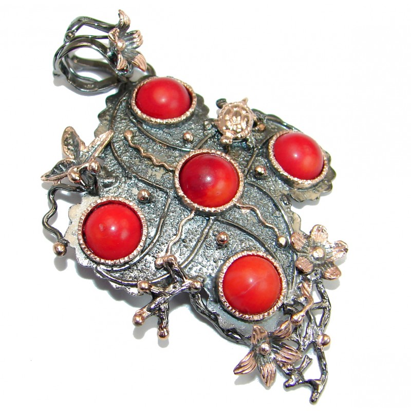 Authentic Red Fossilized Coral Gold Rhodium over .925 Coral Sterling Silver handmade pendant
