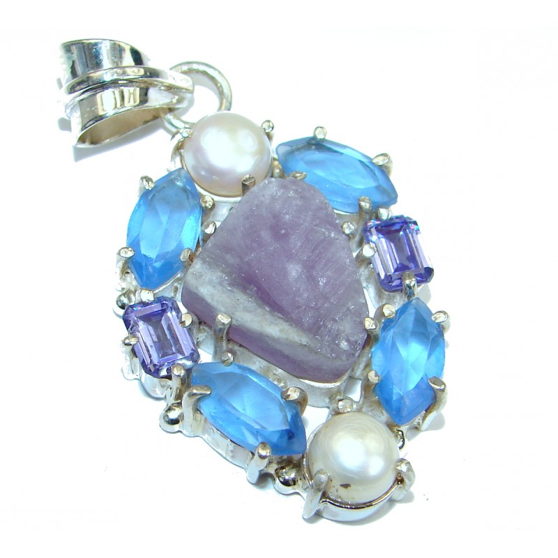Blue Agate Druzy .925 Sterling Silver handcrafted Pendant
