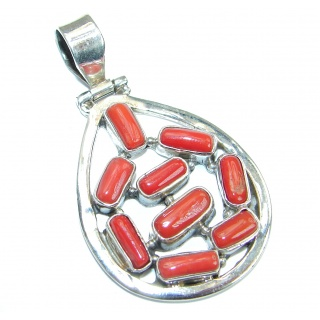 Authentic Red Fossilized Coral .925 Coral Sterling Silver handmade pendant