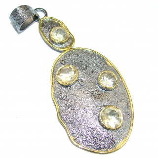Unique Design Genuine Citrine .925 Sterling Silver handcrafted pendant