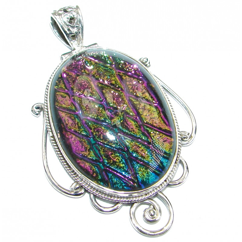 Mexican Dichroic Glass .925 Sterling Silver handmade Pendant