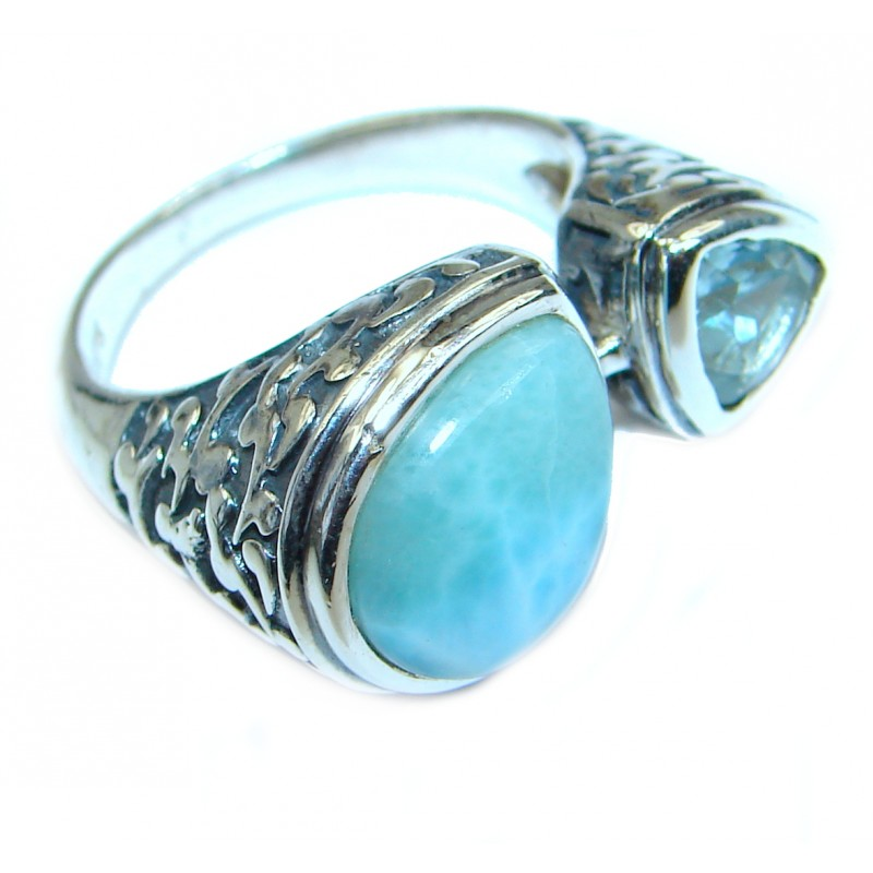Natural 45 ct Larimar .925 Sterling Silver handcrafted Ring s. 7