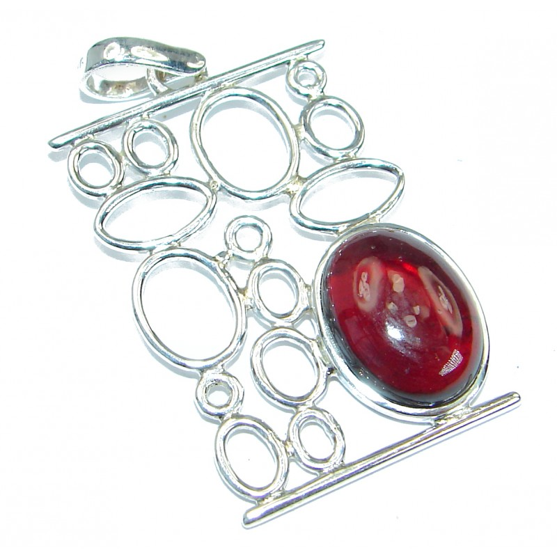 Authentic Garnet .925 Coral Sterling Silver handmade pendant