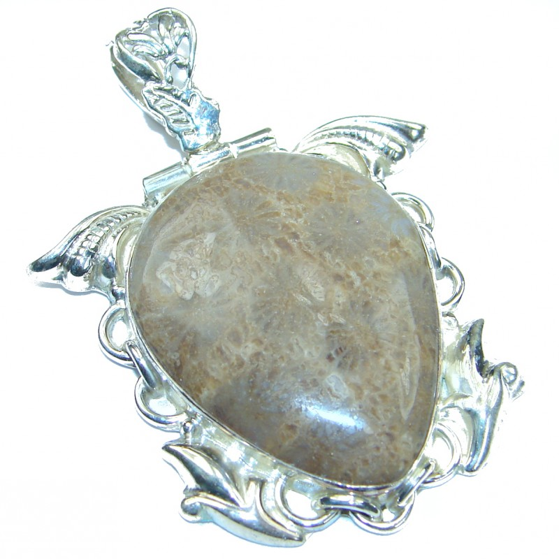 Simple Brown Fossilized Coral .925 Sterling Silver pendant