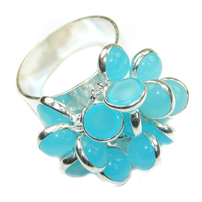 Blue Chalcedony Agate .925 Sterling Silver handcrafted Ring s. 9