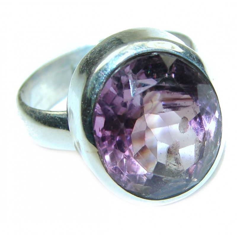 Natural Amethyst .925 Sterling Silver handmade Cocktail Ring s. 7 1/4