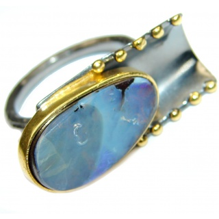 Australian Boulder Opal .925 Sterling Silver handcrafted ring size 8 1/4
