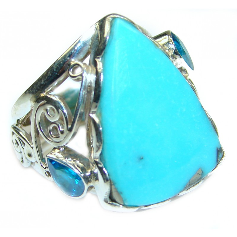 Genuine Sleeping Beauty Turquoise .925 Sterling Silver Ring size 8