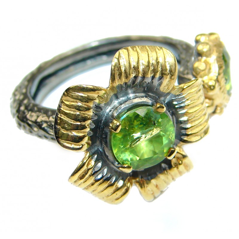 Floral Design genuine Peridot 14K Gold over .925 Sterling Silver handmade Cocktail Ring s. 7 1/4