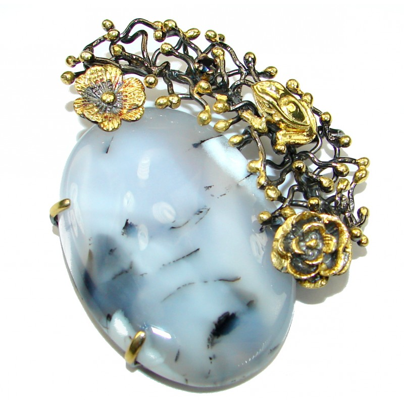 Perfect quality Dendritic Agate Gold over .925 Sterling Silver handmade Pendant