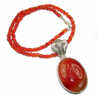 Bold Natural Carnelian .925 Sterling Silver handmade Necklace