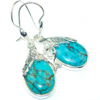 Precious genuine Turquoise .925 Sterling Silver handmade earrings