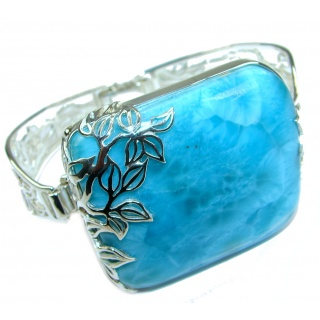Great quality Blue Larimar Oxidized highly polished .925 Sterling Silver handmade Bracelet / Cuff