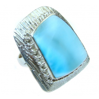 Large Natural 45 ct Larimar .925 Sterling Silver handcrafted Ring s. 8