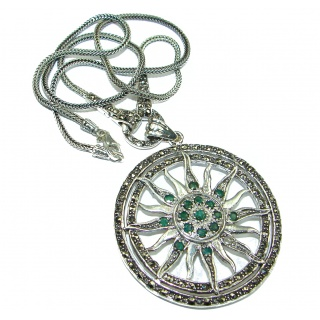Victorian Style Green Emerald and Marcasite .925 Sterling Silver necklace