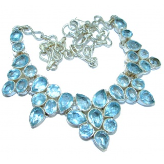Luxury Swiss Blue Topaz color quartz .925 Sterling Silver handcrafted necklace