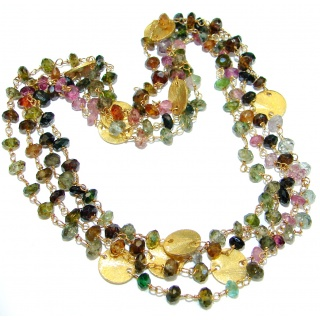 38 inches Genuine Watermelon Tourmaline Gold plated over Sterling Silver handmade necklace