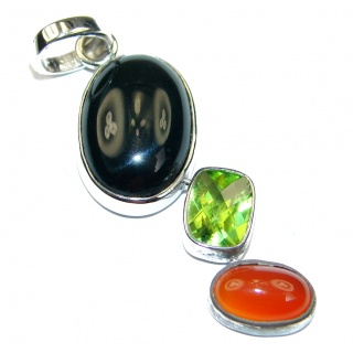 Aura Of Beauty Multistone Sterling Silver handmade Pendant