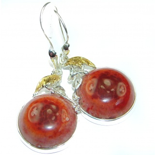 Unique genuine Mexican Fire Opal 18K Gold over .925 Sterling Silver handmade earrings