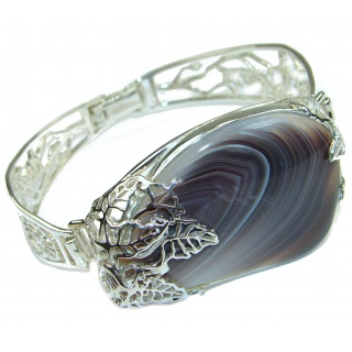 Aura Of Beauty Botswana Agate .925 Sterling Silver handcrafted Bracelet