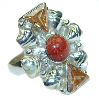 Perfect Carnelian .925 Sterling Silver handmade Ring s. 9