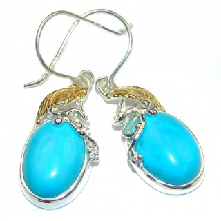 Precious genuine Turquoise two tones .925 Sterling Silver handmade earrings