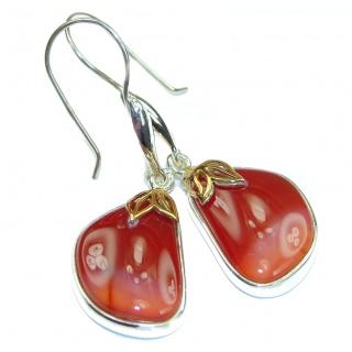 Sublime Orange Carnelian two tones .925 Sterling Silver handmade earrings