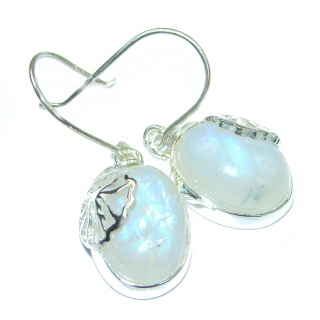 Perfect Fire Moonstone .925 Sterling Silver handmade earrings