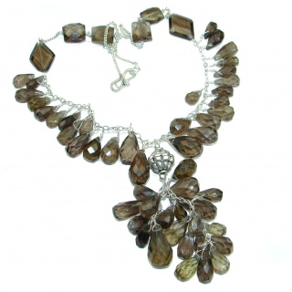Rain Drops natural Smoky Topaz .925 Sterling Silver handmade necklace