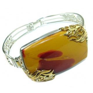 Stunning genuine Australian Mookaite two tones .925 Sterling Silver handcrafted Bracelet
