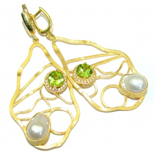 Long Genuine Mother Of Pearl Peridot 14K gold over .925 Sterling Silver handamde earrings