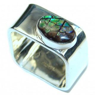 Pure Energy Fire Genuine Canadian Ammolite .925 Sterling Silver handmade ring size 7 3/4