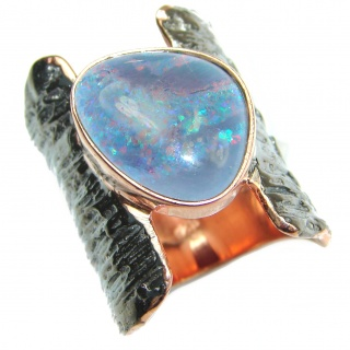 Huge Australian Doublet Opal .925 Sterling Silver handcrafted ring size 7 3/4