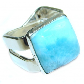 Natural Larimar .925 Sterling Silver handcrafted Ring s. 7 3/4