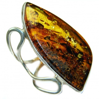 Amber jewelry silverrushstyle unique jewelry store huge genuine baltic polish amber 925 sterling silver handmade ring size 8 adjustable aloadofball Images