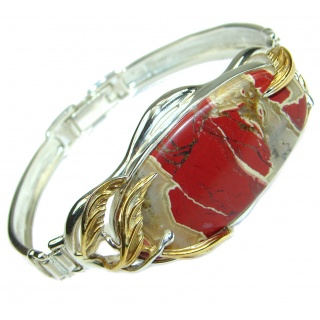 Nature Inspired Design genuine Red Jasper two tones .925 Sterling Silver handcrafted Bracelet