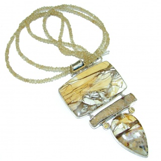 Excellent quality Australian Brecciated Mookaite Rough Citrine .925 Sterling Silver handmade necklace