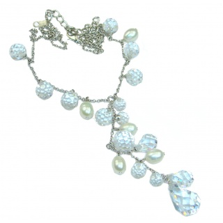Great genuine White Topaz .925 Sterling Silver handmade Necklace
