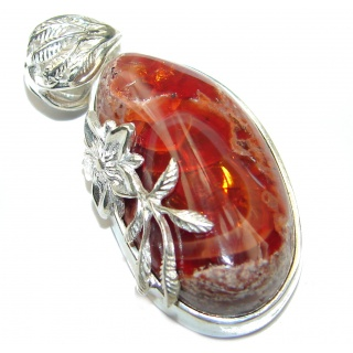 Natural Mexican Fire Opal .925 Sterling Silver handmade Pendant